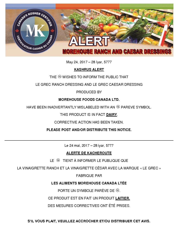 Kosher Alert Morehouse Dressings Mk Kosher